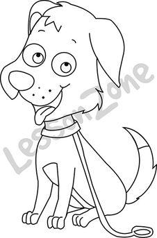 Dog on leash B&W
