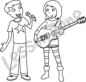 Boy singing and girl playing guitar B&W