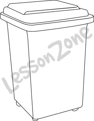 Plastic rubbish bin B&W
