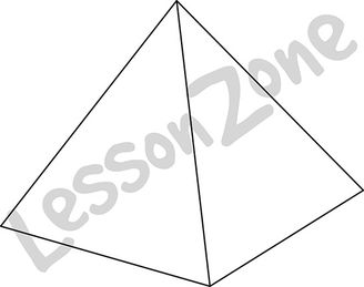3D shape square-based pyramid B&W