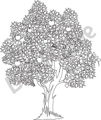 apple tree clipart black and white. apple tree b\u0026w clipart black and white