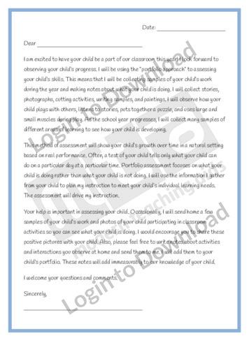 Portfolio Parent Letter