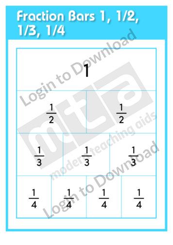 Fraction Bars 1, 1/2, 1/3, 1/4
