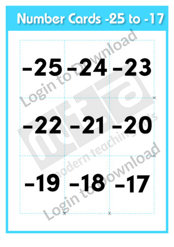 Number Cards -25 to -17