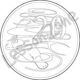 Australia, 20c coin B&W