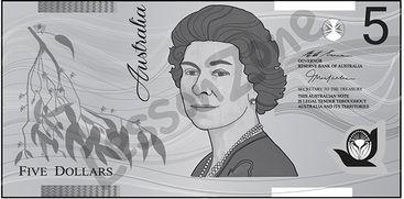 Australia, $5 note B&W