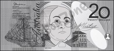 Australia, $20 note B&W