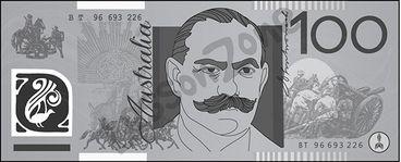 Australia, $100 note B&W