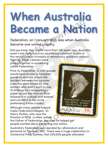 When Australia Became a Nation