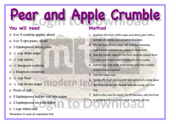 August Recipe: Pear and Apple Crumble