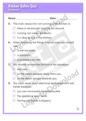 lesson zone au   kitchen safety quiz