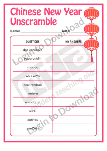 Chinese New Year Unscramble