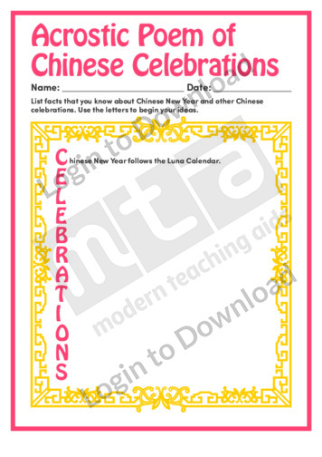 Acrostic Poem of Chinese Celebrations