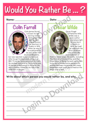 Would You Rather Be…? Colin Farrell or Oscar Wilde