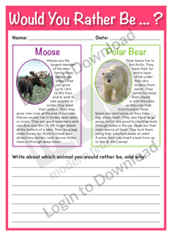 Would You Rather Be…? A Moose or a Polar Bear