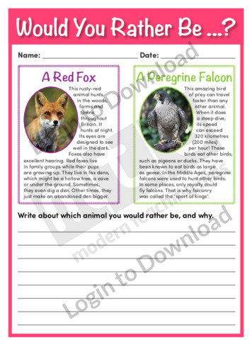 Would You Rather Be…? A Fox or a Peregrine Falcon