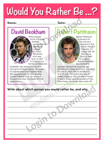 Would You Rather Be…? David Beckham or Robert Pattinson