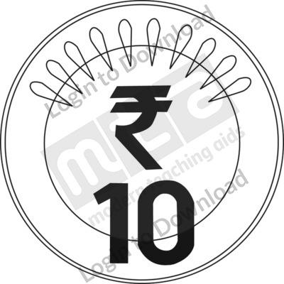 ten clipart black and white. india u20b910 coin bu0026w ten clipart black and white