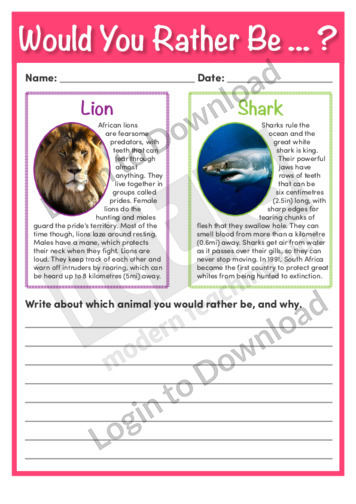 Would You Rather Be…? Lion or Shark