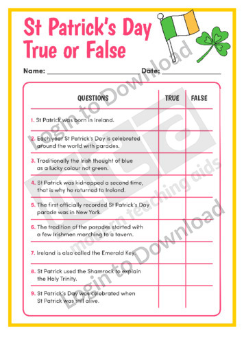 St Patrick's Day True or False