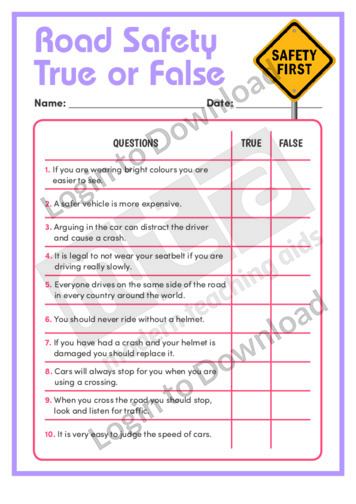 Road Safety True or False