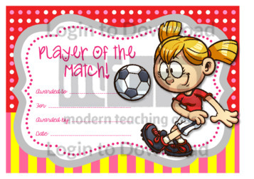 Player of the Match Certificate (girl)