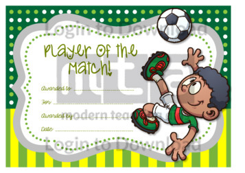 Player of the Match Certificate (boy)