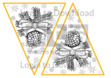 Christmas Bunting: Pine Cones (B&W)