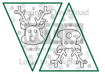 Christmas Bunting: Reindeer (B&W)