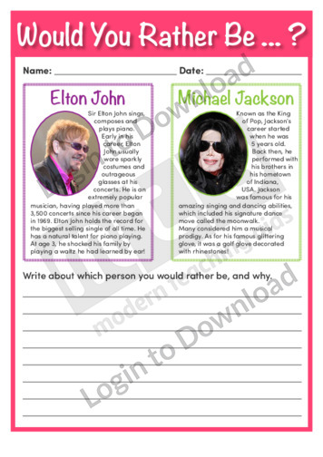 Would You Rather Be Elton John or Michael Jackson?
