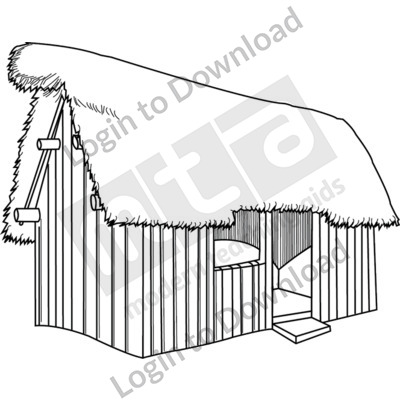 Anglo-Saxon thatched house B&W