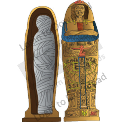 Egyptian coffin and mummy