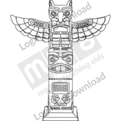 Aztec totem pole B&W