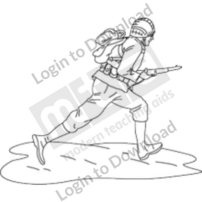 Soldier running B&W