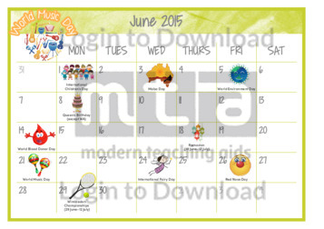 June Calendar Events : Lesson zone au months of the year