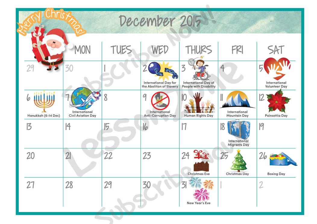 Events Calendar: December 2015