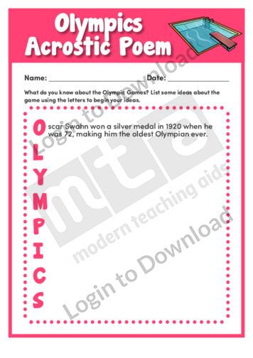 Olympics Acrostic Poem
