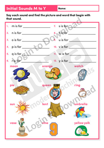 Initial Sounds M to Y (Level 1)