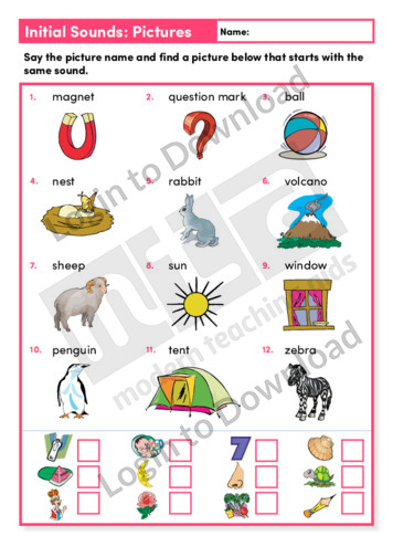 Initial Sounds Pictures (Level 1)