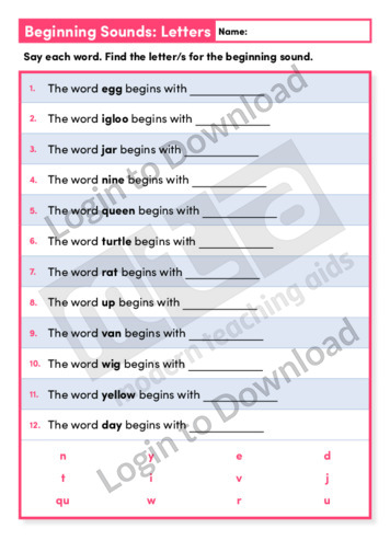 Beginning Sounds Letters 1 (Level 1)