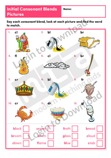 Initial Consonant Blends Pictures 1 (Level 3)