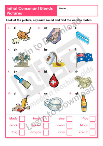 Initial Consonant Blends Pictures 2 (Level 3)