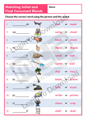 Matching Initial and Final Consonant Blends (Level 4)