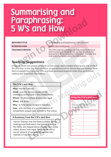 5 W's and How