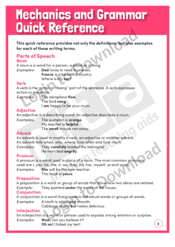 Mechanics and Grammar Quick Reference (Level 7)