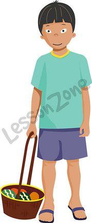 Boy holding basket