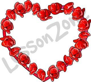 Poppies in heart shape