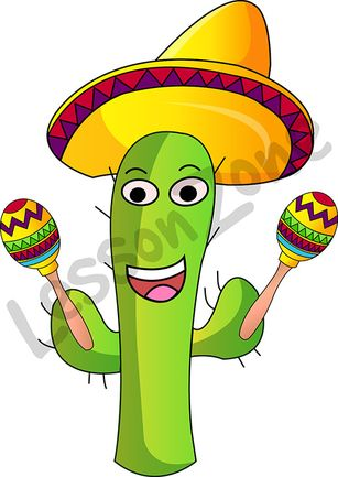 Cactus with sombrero and maracas