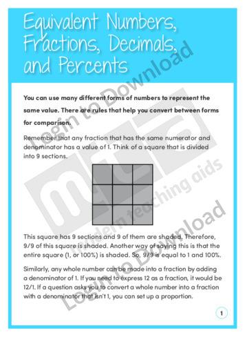 Equivalent Numbers, Fractions, Decimals and Percents
