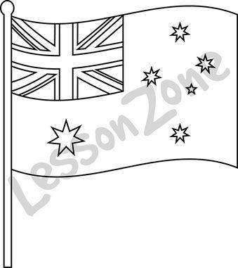 Australia, flag B&W